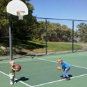 Playing basketball at The New Park